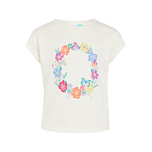 Buy John Lewis Girls' Flower Print T-Shirt, Cream Online at johnlewis.com