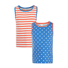 Buy John Lewis Girls' Stripe Vest Tops, Pack of 2, Blue/Coral Online at johnlewis.com