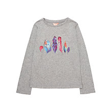 Buy Jigsaw Girls' Feather Print T-Shirt, Grey Online at johnlewis.com