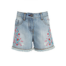 Buy John Lewis Girls' Denim Embroidered Shorts, Blue Online at johnlewis.com