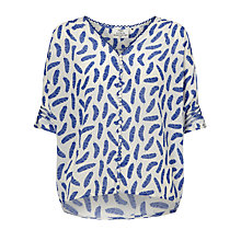 Buy Pyrus Robin Feather Silk Blouse, Salt/Blue Online at johnlewis.com