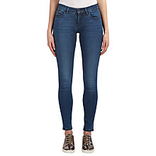 Buy Calvin Klein Mid Rise Skinny Jeans, Crushed Eighties Blue Stretch Online at johnlewis.com