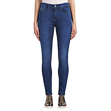 Buy Calvin Klein High Rise Skinny Jeans, Crushed Eighties Blue Stretch Online at johnlewis.com