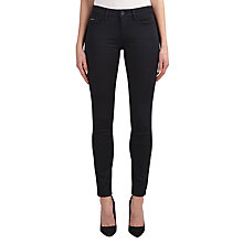 Buy Calvin Klein Mid Rise Skinny Jeans, Pop Black Stretch Online at johnlewis.com