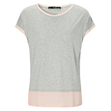 Buy Oui Block Colour T-Shirt, Light Grey/Pink Online at johnlewis.com