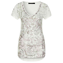 Buy Oui Snake Print T-Shirt, White/Grey Online at johnlewis.com