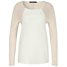 Buy Oui Long Sleeve Jersey Top, White/Pearl Online at johnlewis.com