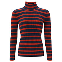 Buy Selected Femme Mifa Stripe Roll Neck Jumper, Pompeian Red/Navy Online at johnlewis.com
