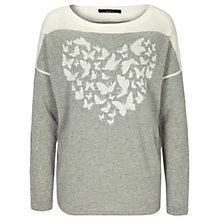 Buy Oui Heart Butterfly Jumper, Light Grey/White Online at johnlewis.com