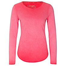 Buy Oui Long Sleeve Jersey Top, Peach Whip Online at johnlewis.com