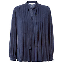 Buy Max Studio Tie Neck Pleated Jersey Top, Heather Indigo Online at johnlewis.com