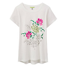 Buy Joules Eva Floral Print T-Shirt, Cream Online at johnlewis.com