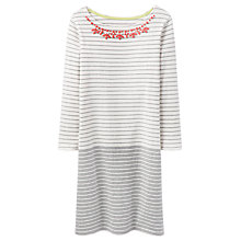Buy Joules Sennen Embellished Jersey Dress, Grey Marl Stripe Online at johnlewis.com