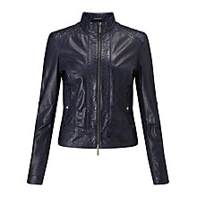 Buy BOSS Orange Janassi Leather Biker Jacket, Dark Blue Online at johnlewis.com