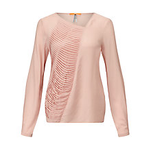 Buy BOSS Orange Concerts Pleat Detail Silk Top, Bright Pink Online at johnlewis.com