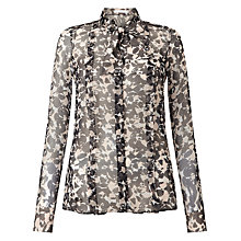 Buy BOSS Baling Printed Silk Blouse, Black/Cream Online at johnlewis.com
