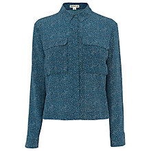 Buy Whistles Double Dot Print Silk Shirt, Blue/Multi Online at johnlewis.com