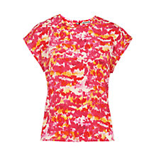 Buy Whistles Watercolour Print Silk Top, Pink/Multi Online at johnlewis.com