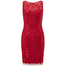 Buy Aidan Mattox Embroidered Satin Sheath Dress, Ruby Online at johnlewis.com