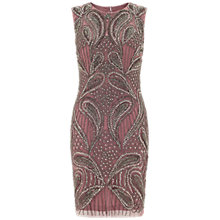 Buy Aidan Mattox Turtle Neck Beaded Dress, Dusty Pink Online at johnlewis.com