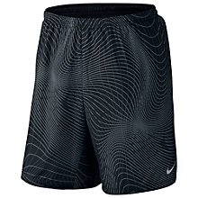 "Buy Nike 7"" Distance Printed Running Shorts, Black/Reflect Online at johnlewis.com"