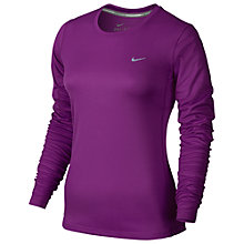 Buy Nike Miler Crew Neck Long Sleeve Running Top, Purple Online at johnlewis.com