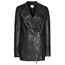 Buy Reiss Leather Cass Mid Length Biker Jacket, Black Online at johnlewis.com