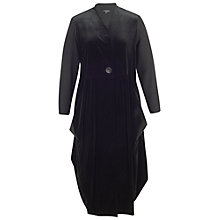 Buy Chesca Jersey Trim Velvet Coat, Black Online at johnlewis.com