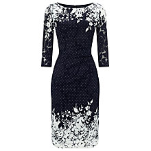 Buy Phase Eight Elodie Mesh Floral Placement Dress, Navy/White Online at johnlewis.com