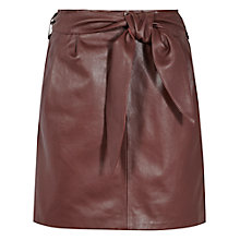 Buy Reiss Leonie Belted Leather Mini Skirt, Burgundy Online at johnlewis.com