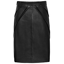 Buy Reiss Etienne Leather Pencil Skirt, Black Online at johnlewis.com