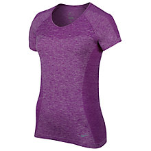 Buy Nike Dri-FIT Knit Short Sleeve Running Top, Cosmic Purple/Reflect Online at johnlewis.com