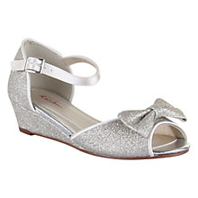 Buy Rainbow Club Children's Kirsty Sparkly Peep Toe Wedges, Silver Shimmer Online at johnlewis.com
