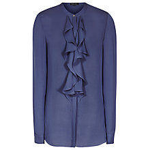 Buy Reiss Pippin Ruffle Front Top, Cornflower Blue Online at johnlewis.com