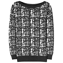 Buy Reiss Brooks Texture Jumper, Black/Off White Online at johnlewis.com