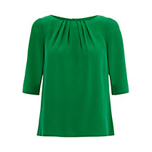 Buy Hobbs Eimear Silk Blouse, Grass Green Online at johnlewis.com