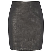 Buy Warehouse Faux Croc Leather Skirt, Black Online at johnlewis.com