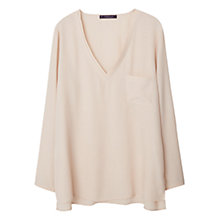 Buy Violeta by Mango Flowy Pocket Detail Blouse, Pastel Pink Online at johnlewis.com