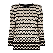 Buy Warehouse Compact Chevron Jumper, Black Online at johnlewis.com