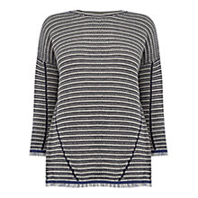 Buy Warehouse Stitchy Frayed Jumper, Navy Online at johnlewis.com