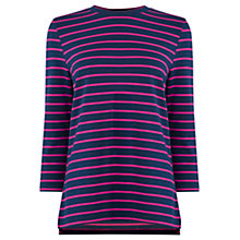 Buy Warehouse Stripe Three Quarter Sleeve Top, Blue Online at johnlewis.com