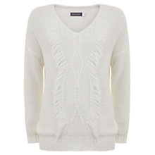 Buy Mint Velvet Fringe Cocoon Jumper, Ivory Online at johnlewis.com
