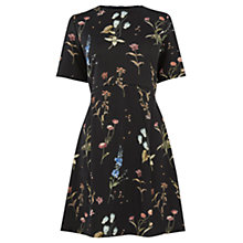 Buy Warehouse Pretty Spaced Floral Dress, Black Pattern Online at johnlewis.com