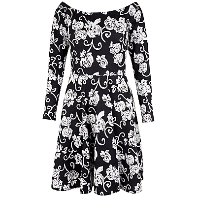 Closet Bardot Dress, Black/White