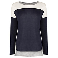 Buy Oasis Colour Block Jumper, Navy Online at johnlewis.com