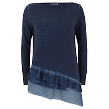Buy Mint Velvet Ruffle Hem Jumper, Blue Online at johnlewis.com