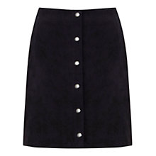 Buy Mint Velvet Suede Popper Skirt, Navy Online at johnlewis.com