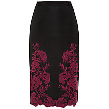Buy Ted Baker Embroidered Mesh Lace Skirt, Dark Red Online at johnlewis.com
