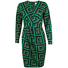 Buy Closet Geo Print X Over Dress, Green Online at johnlewis.com