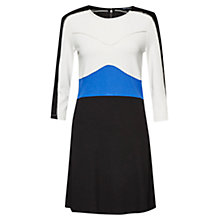 Buy French Connection Manhattan Flared Jersey Dress, Black/Summer White Online at johnlewis.com